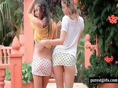 Teen leabians touching bodies outdoor