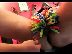 Hot mistress tortures her slaves balls