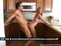 Mature blonde slut in the kitchen gets a blowjob