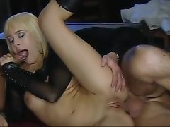 Euro bitch in boots nailed by two guys