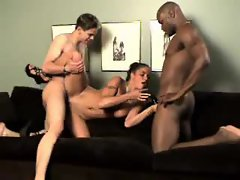 Trim busty babe stars in interracial threesome