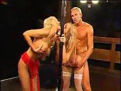 Hot blonde on her knees for huge bukkake