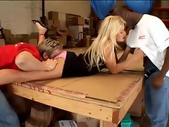 Warehouse workers fuck this hot bitch