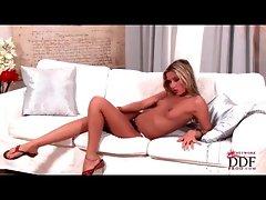 Skinny blonde teases in her black panties