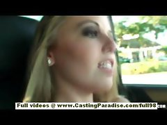 Olivia gorgeous blonde teen flashing and toying in a car