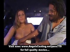 Amazing blonde flashes tits and pussy and does blowjob for afro guy