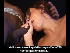 Mesmerizing hot brunette babe does blowjob for black guy in the car