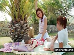 Outdoor lesbian scene with three teen hotties