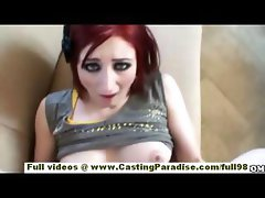 Violet Monroe amateur teen redhead with naturat tits does blowjob and fucking
