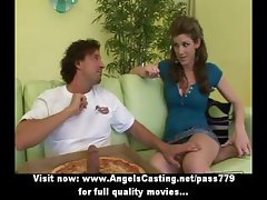Hot brunette does blowjob and handjob for guy with pizza on cock