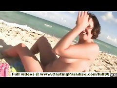 Brooke Lee Adams teen babe with big ass and natural tits gets naked on the beach