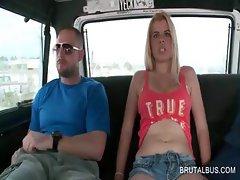Slutty blonde shows sexy body in bus