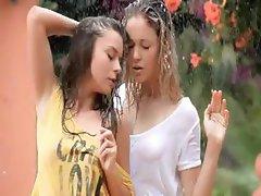 adorable girls in the rain