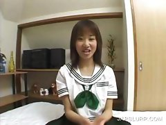 Cute asian teenie having fun chatting