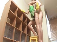 Petite room cleaner copulated hard