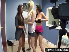 Babes fooling around on tape dacing and stripping