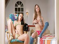 Two lesbo teens working small cunts