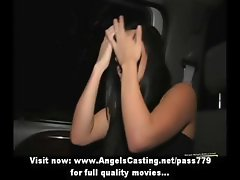 Amazing hot babe with black hair does blowjob for afro guy in the car