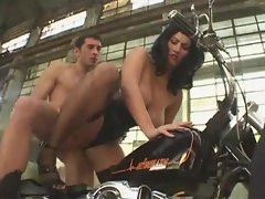 Corset girl on a bike fucked hard