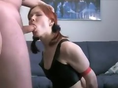 Amateur GF in latex teases and sucks his cock