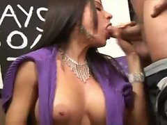 Incredible BJ from big tits brunette milf