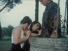 Outdoor retro threesome has hardcore sex