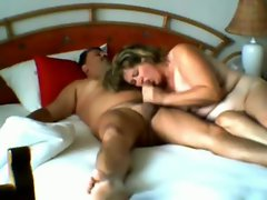 Fat wife blows him and rides him