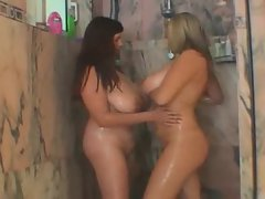 Chubby gals get wet and heavy in shower