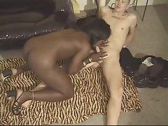 Black shemale cocksucker bends him over