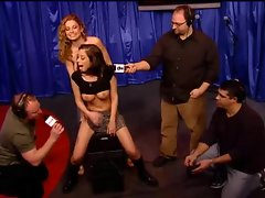Schoolgirl babe rides Sybian on Howard Stern show