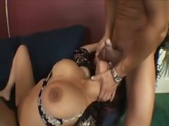 Amazing fake titty girl sucks a dick