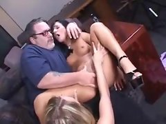 Chubby older guy plays with two cuties