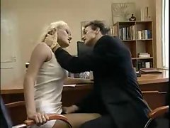 Classic blonde hottie working cock in the office