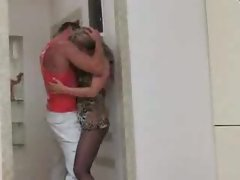 Mature pantyhose chick bends over for him