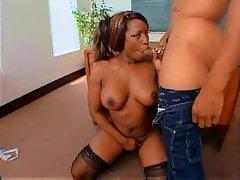 Young black man nails the big booty slut