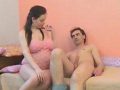 Preggo babe in pink lingerie fucking