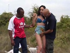 Skinny Arab on a picnic with two guys