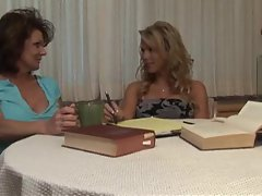 Seduction of a blonde teen by a mature babe