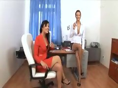 An office threesome with mega hot babes