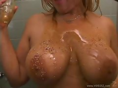Oil and sprinkles on her big hooters