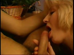Passionate blowjob and cock bouncing from mature