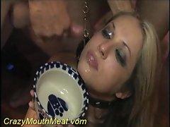 Girl in a collar drinking hot cum