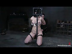 Girl in a wild bondage device caned