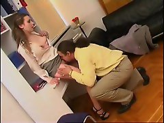 Cute young chick eaten out by her boss
