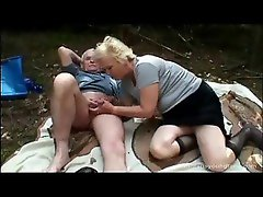 Teen joins an old couple for oral sex