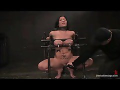 Girl in painful bondage and nipple clamps has her pussy vibed