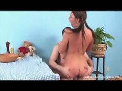 Pigtailed cutie fucked by a hairy guy