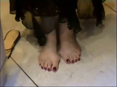 At my work in feet and Devine soles Naked!!!!