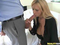 Busty blonde MILF boss works a meatstick
