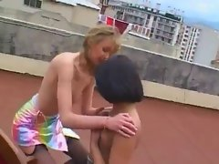 Two french lesbian on a roof
